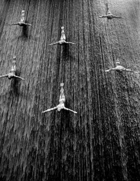 abstact art with water falling behind