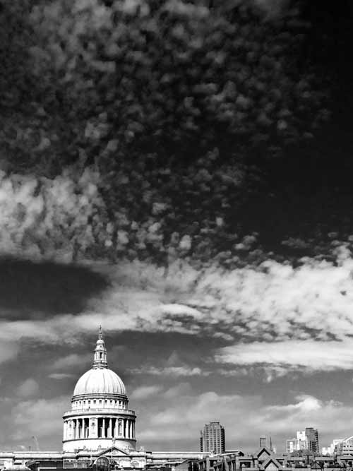 St pauls skyliine with dramatic clouds above
